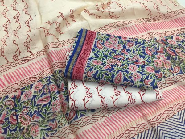 Champange floral kalamkari rapid print casual wear chanderi silk salwar suit set