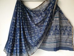 Indigo Dabu Chanderi Zari Border Cotton Mulmul Saree (3)