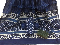 Indigo Dabu print daily wear Cotton Dupatta Suit