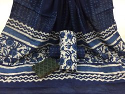 Indigo Dabu floral print daily wear Cotton Dupatta Suit set