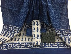 Indigo Dabu booty print daily wear Cotton Dupatta Suit