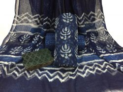 Indigo dabu booty prints party wear kota doria salwar kameez set