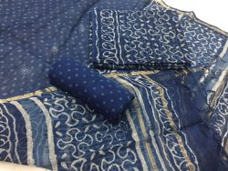 Indigo dabu polka dots prints party wear kota doria suit set