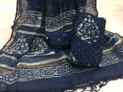 Indigo dabu leaf prints party wear kota doria suit set