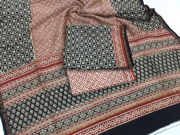 Jaipuri bagru print black chanderi silk suit