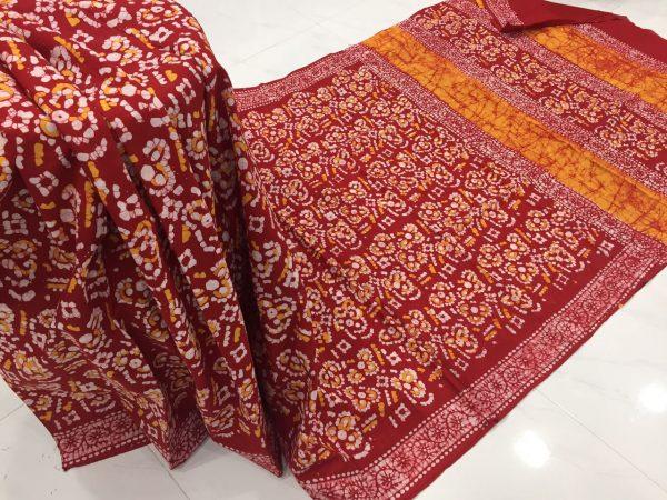 Sangria batik print regular wear cotton saree with blouse