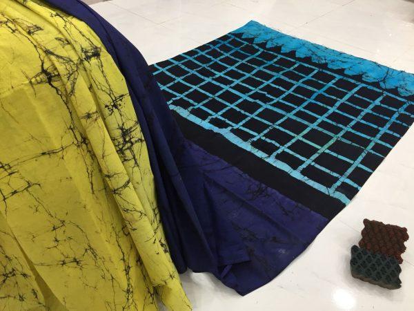 Yellow blue batik print regular wear cotton saree with blouse