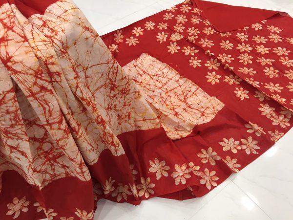 Crimson batik print regular wear cotton saree with blouse