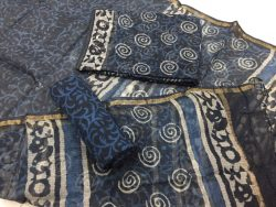 Indigo dabu jalebi prints party wear kota doria salwar kameez suit