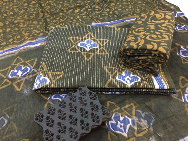 Olive star print office wear kantha work cotton suit with pure chiffon dupatta