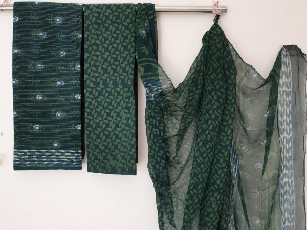 Viridian party wear kantha work cotton suit with pure chiffon dupatta