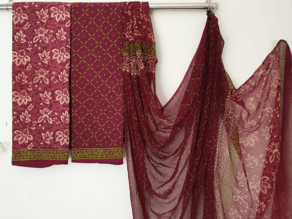 Maroon office wear floral print kantha work cotton suit with pure chiffon dupatta