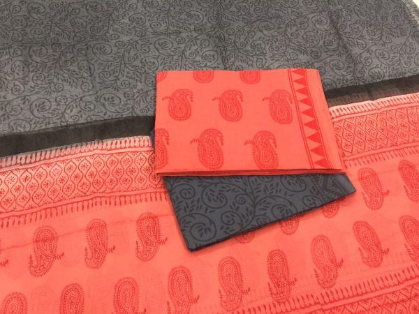 Unstitched salmon kerry pigment print pure chiffon dupatta cotton suit set