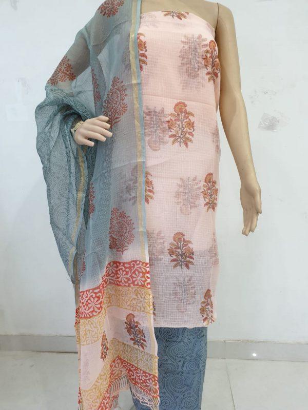 Jaipuri pinkmugal print party wear kota doria suits