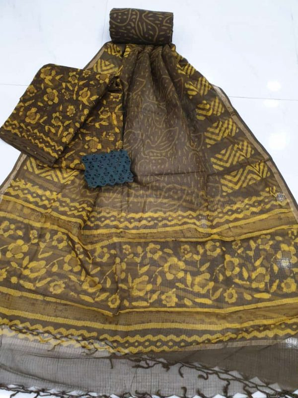 Yellow brown Kota doria suit set