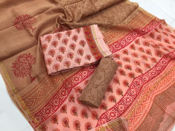 Pink mugal booty print casual wear chanderi silk suit