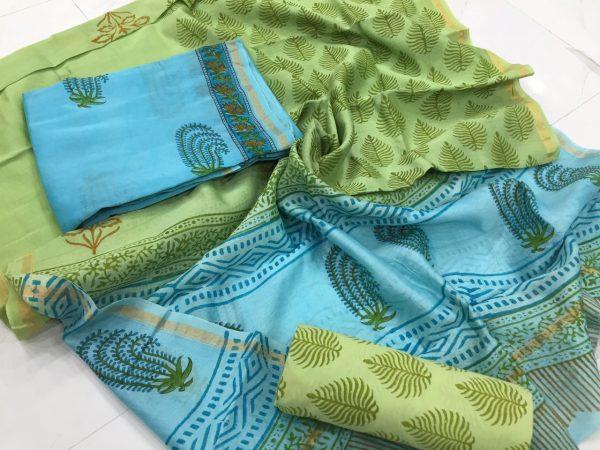 Olive mugal leaf print casual wear chanderi silk suit