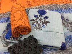White office wear mugal print kantha suit set with chiffon dupatta