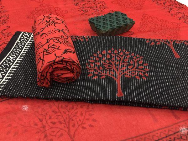 Black office wear mugal tree print kantha suit set with chiffon dupatta