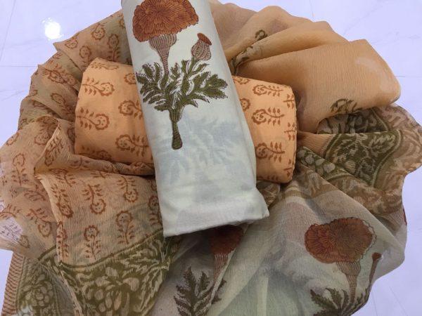 White apricot mugal print pure cotton salwar suit with pure chiffon dupatta