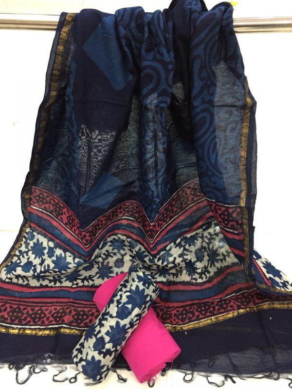 Traditional indigo dabu leaf print casual wear chanderi silk suit set