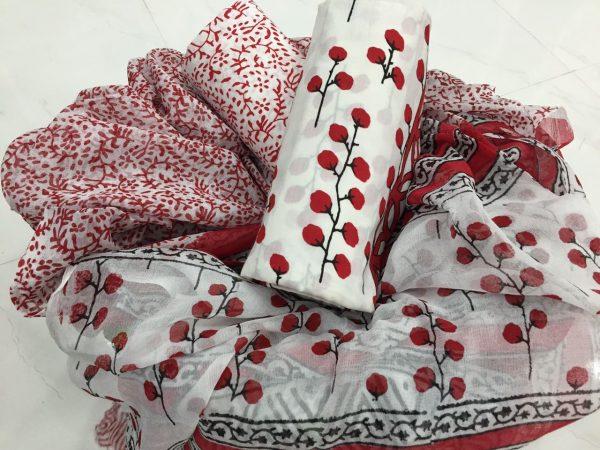 White floral pigment print pure chiffon dupatta pure cotton salwar kameez set