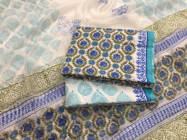 Jaipur beige pigment print pure cotton suit with chiffon dupatta