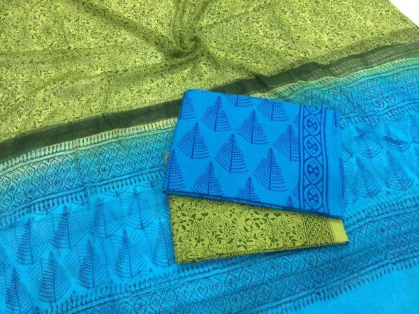 Ladies azure pigment tree print chiffon dupatta cotton suit set