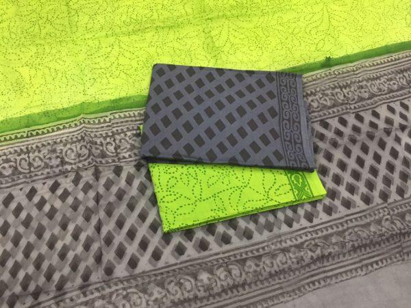 Slate gray unstitched pigment print pure cotton suit set with pure chiffon dupatta