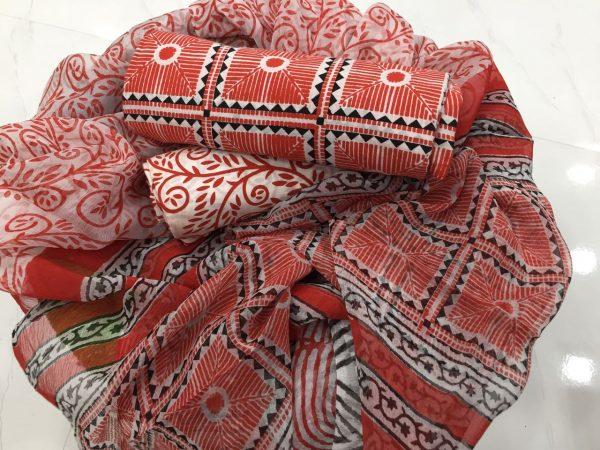 White pigment print cotton salwar suit set with chiffon dupatta
