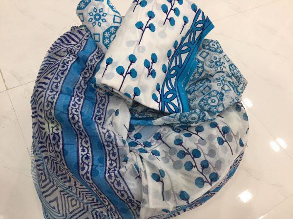 Ivory floral pigment print pure chiffon dupatta pure cotton suit