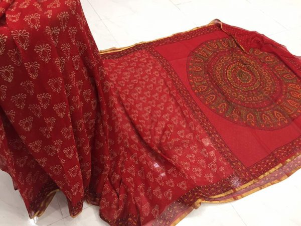 Crimson booty print casual wear chiffon saree with blouse piece
