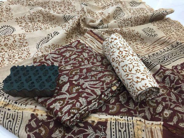 Maroon rapid floral print casual wear chanderi silk salwar Kameez set
