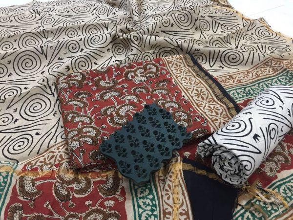 Maroon rapid floral print casual wear chanderi salwar Kameez set