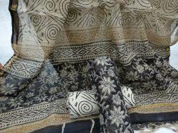 Black rapid floral print party wear kota doria suit
