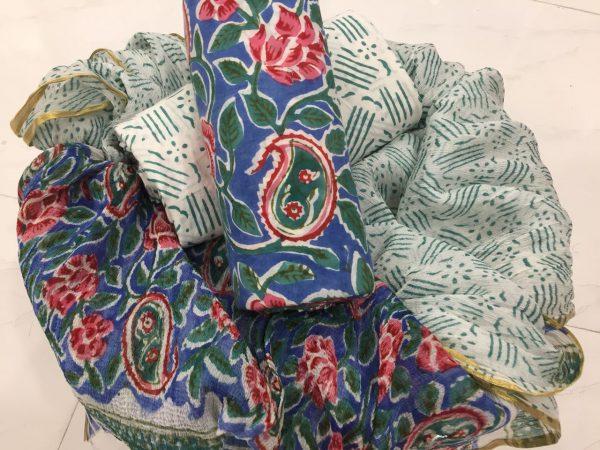 Blue floral rapid prnit casual wear zari border pure cotton suit set