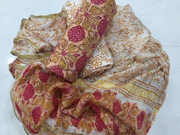 Tan rapid floral prnit casual wear zari border pure cotton suit set