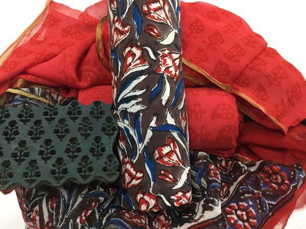 Taupe rapid floral prnit casual wear zari border pure cotton suit set
