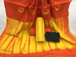 Shibori Bandhej Cotton Mulmul Dupatta Suit Set (1)