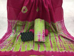 Shibori Bandhej Cotton Mulmul Dupatta Suit Set (2)