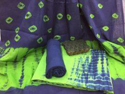 Shibori Bandhej Cotton Mulmul Dupatta Suit Set (6)
