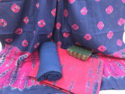 Shibori Bandhej Cotton Mulmul Dupatta Suit Set (8)