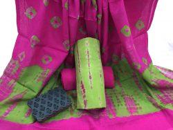 Shibori Bandhej Cotton Mulmul Dupatta Suit Set (9)