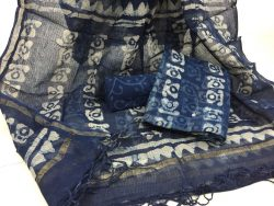 Indigo dabu telephone prints party wear kota doria salwar kameez suit