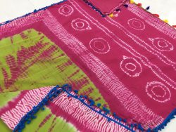 Traditional Shibori Print Pompom Cotton Mulmul Saree (2)