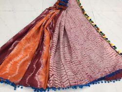 Traditional champagne shibori print pompom cotton mulmul saree with blouse