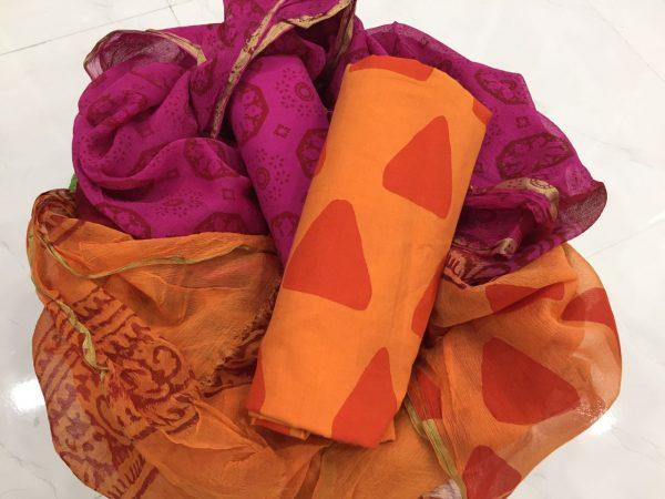 Orange pigment triangle print casual wear zari border pure cotton suit