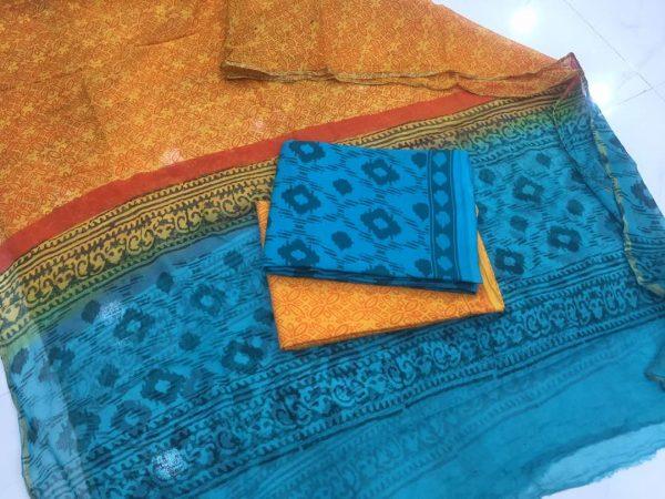 Blue pigment print casual wear zari border pure cotton salwar suit set