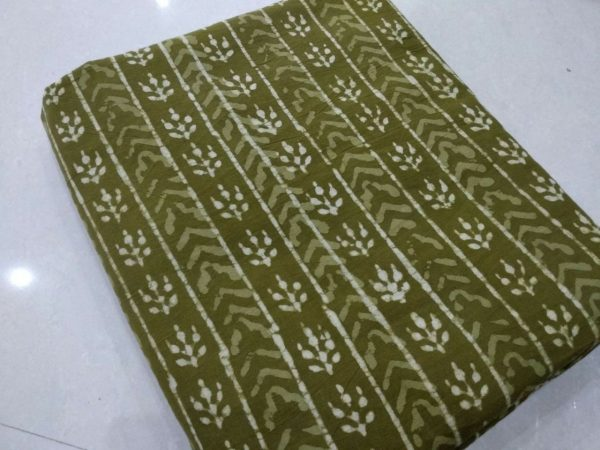 Olive bagru booty print cotton running material