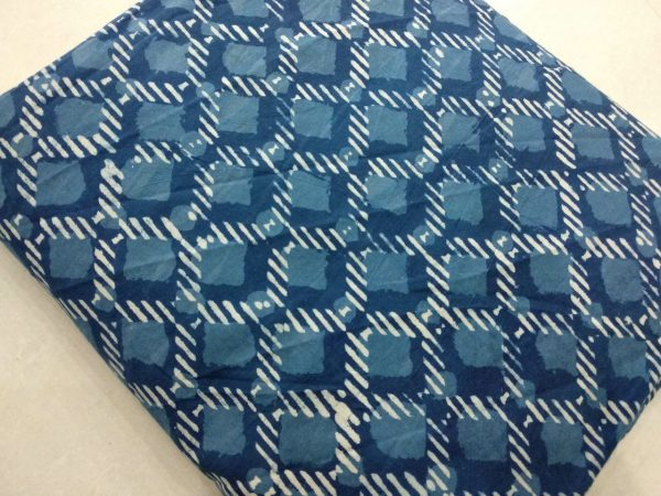 Indigo dabu objects print cotton running material